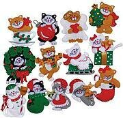 Lots of Kittens Christmas Ornaments - Felt Applique Kit