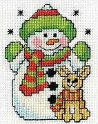 Snowman with Frame Mini - Christmas Cross Stitch Kit