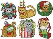 Christmas Kitten Ornaments - Cross Stitch Kit