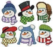 Snowmen In Hats Christmas Ornaments - Cross Stitch Kit