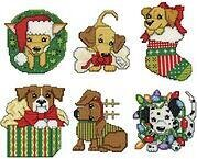 Christmas Pups Christmas Ornaments - Cross Stitch Kit