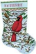 Cardinal Christmas Stocking - Cross Stitch Kit