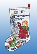 Trim a Tree Snowman Christmas Stocking - Cross Stitch Kit