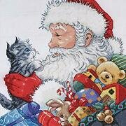 Santa and Kitten - Christmas Cross Stitch Kit