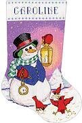 Snowman with Lantern Christmas Stocking - Cross Stitch Kit