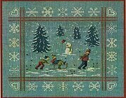 Sledding Day and Snow Flakes - Cross Stitch Pattern