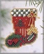Hearts and Star Stocking 2003 - Beaded Cross Stitch Kit