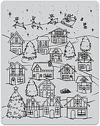 Winter Village Peek a Boo - Background Christmas Cling Stamp