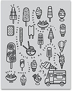 Ice Cream - Background Cling Stamp