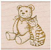 Bear and Kitty - Wood Mounted Rubber Stamp