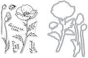 Hero Florals Poppy Combo - Stamp and Die Set