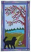 Puppy at the Door on a Fall Day - Cross Stitch Pattern