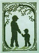 Walk with Dad (with charm) - Cross Stitch Pattern
