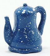 Spatterware Teapot - Blue - Dollhouse Miniature