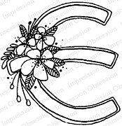 Floral E - Cling Stamp