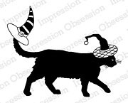 Black Cat with Witch Hat - Halloween Cling Stamp