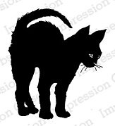 Black Arched Cat - Cling Stamp