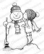 Sweet Snow Kisses - Snowman Cling Rubber Stamp
