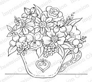 Tea Cup Flowers - Cling Rubber Stamp