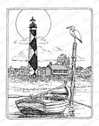 Cape Lookout Lighthouse - Cling Rubber Stamp
