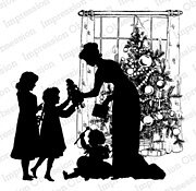 Christmas Morning Silhouette - Cling Stamp