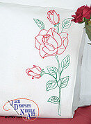 Long Stem Rose Perle Edge Pillowcases - Embroidery Kit