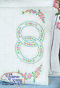 Wedding Rings Perle Edge Pillowcases - Embroidery Kit