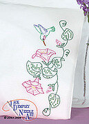 Hummingbird & Morning Glories Perle Edge Pillowcases