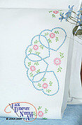 Starburst of Hearts Perle Edge Pillowcases - Embroidery Kit