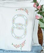 Wedding Rings Lace Edge Pillowcases - Embroidery Kit