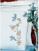 Birds Lace Edge Pillowcases - Stamped Cross Stitch Kit