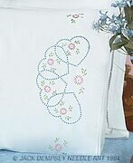 Starburst of Hearts Lace Edge Pillowcases - Stamped Kit