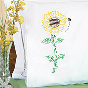 Sunflower Lace Edge Pillowcases - Embroidery Kit