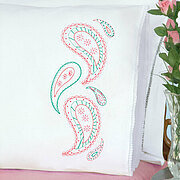 Paisley Lace Edge Pillowcases - Embroidery Kit
