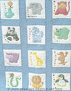 Childrens Zoo Nursery Quilt Squares - Embroidery Kit