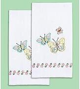 Fluttering Butterflies Decorative Hand Towels Embroidery Kit