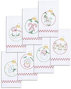 Christmas Ornaments Hand Towels - Stamped Embroidery Kit