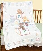 Baby Blocks Crib Quilt Top - Stamped Cross Stitch Kit