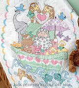 Noah's Ark Crib Quilt Top - Stamped Cross Stitch Kit