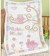 Owl and Friends Crib Quilt Top - Stamped Cross Stitch Kit