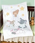 Praying Bear and Friends Crib Quilt Top Stamped Cross Stitch