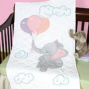 Elephant Crib Quilt Top - Stamped Cross Stitch Kit