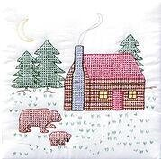 Cabin and Bears Quilt Squares - Stamped Cross Stitch Kit