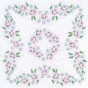 "Lavender Flowers 18"" Quilt - Stamped Embroidery Kit"