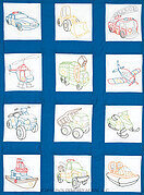 Rescue Vehicles Theme Quilt Blocks - Embroidery Kit