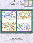 Faith, Love, Family, Friends - Cross Stitch Pattern