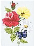 Butterfly & Floral Crewel Embroidery Kit