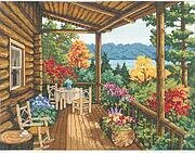 Log Cabin Covered Porch - Cross Stitch Kit