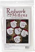Redwork Mittens Christmas Ornament Embroidery Kit