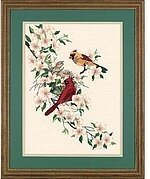 Cardinals In Dogwood - Crewel Embroidery Kit